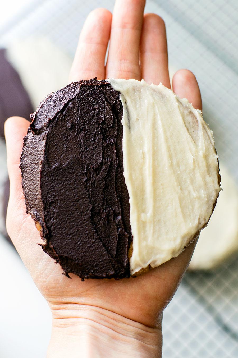 big Paleo black and white cookie