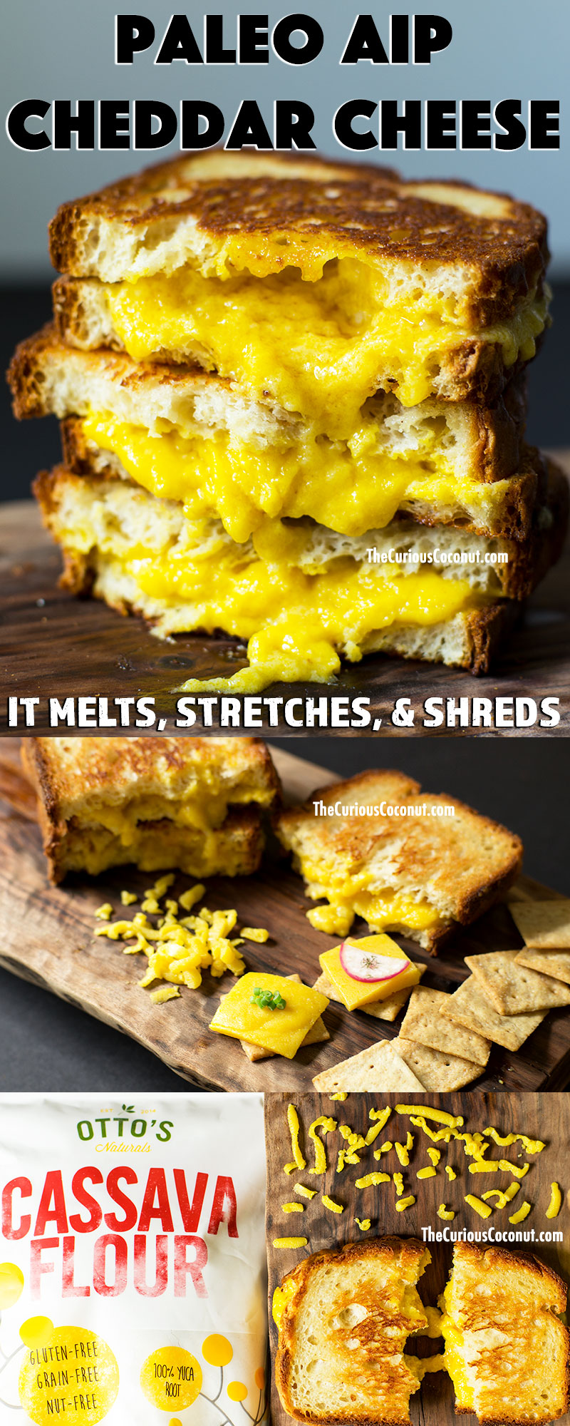 #Paleo #AIP and #vegan cheddar two ways! Meltable, stretchy, and shreddable, this new type of cheese will rock your world! Get the recipe at TheCuriousCoconut.com