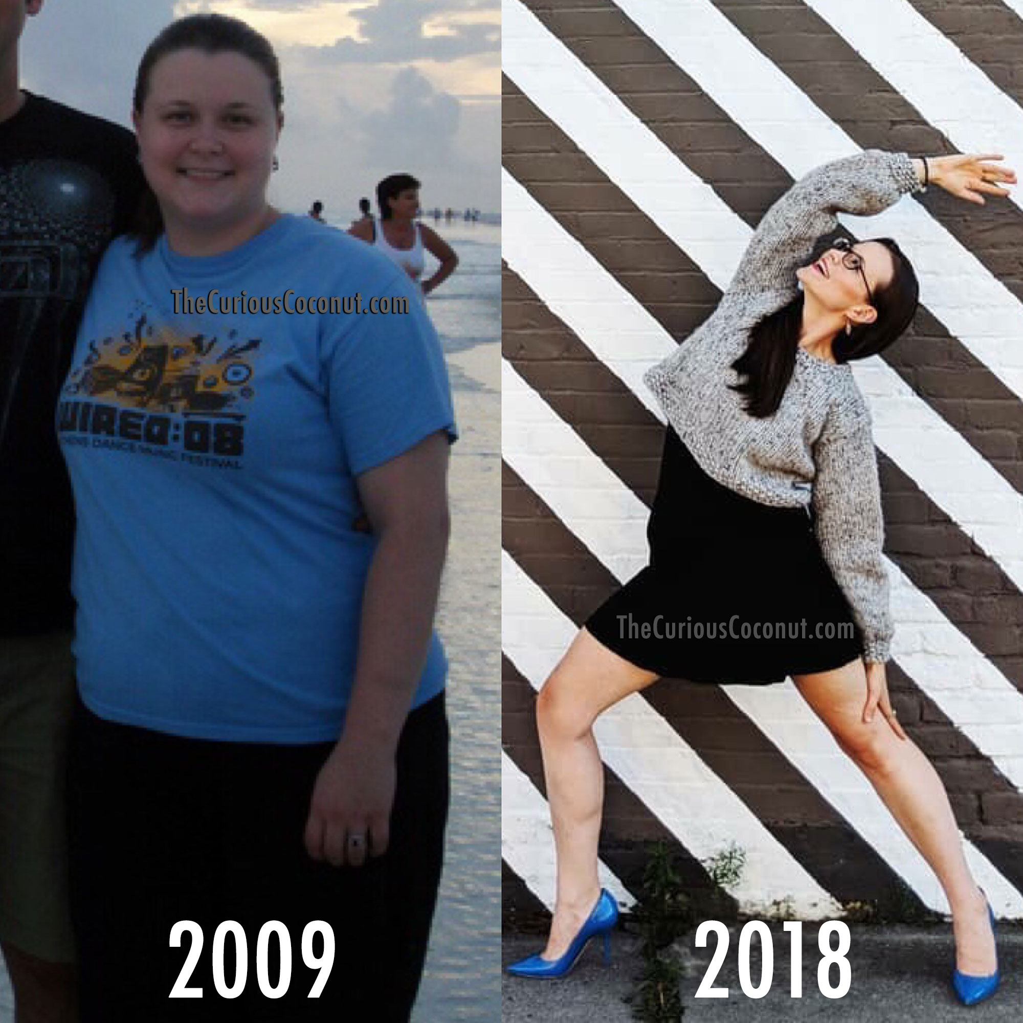 On the left I was very sick, inflamed, and suffering through the worst of my HS flares. I've maintained the 80 lb weight loss all these years!