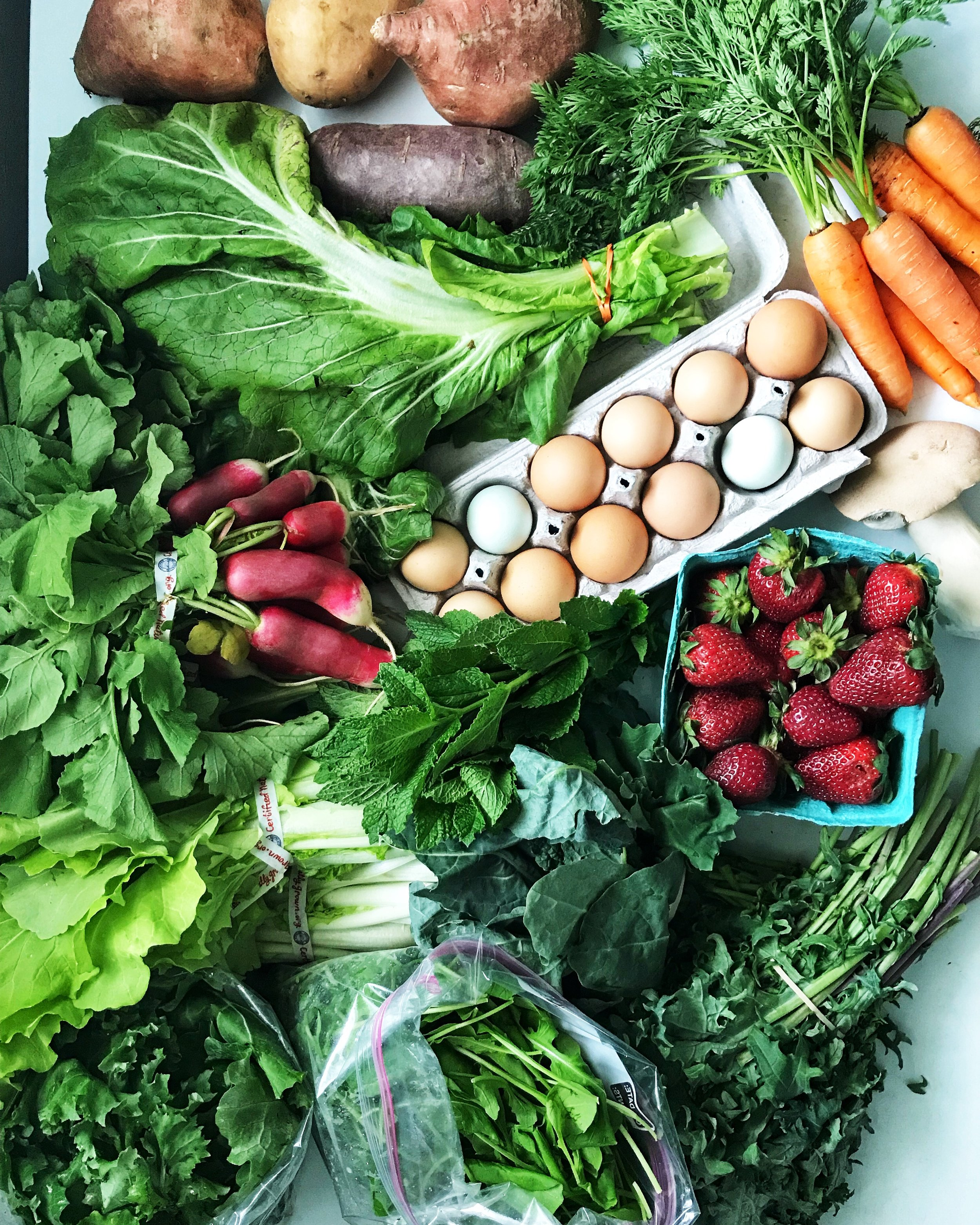 A recent farmer's market haul showcasing the vegetables I eat in a week. I would not have gotten strawberries or sweet potatoes if I were still doing keto Paleo