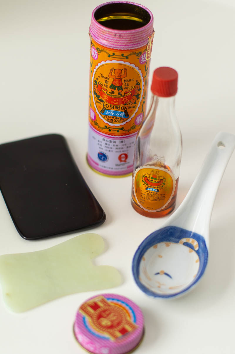 Po Sum On oil with several different options for using it to perform gua sha skin scraping.