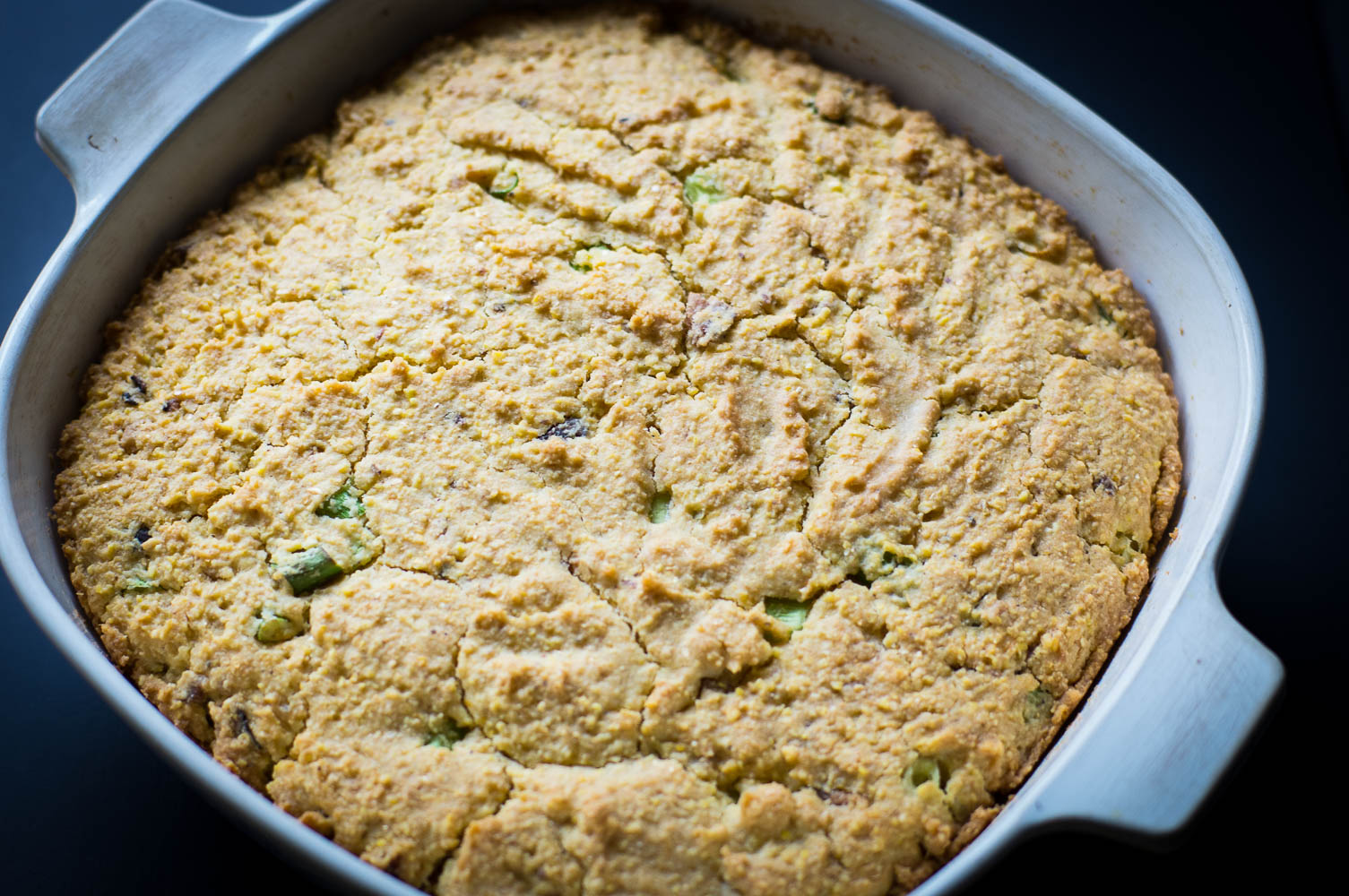vintage corningware is great for making cornbread with a crisp crust