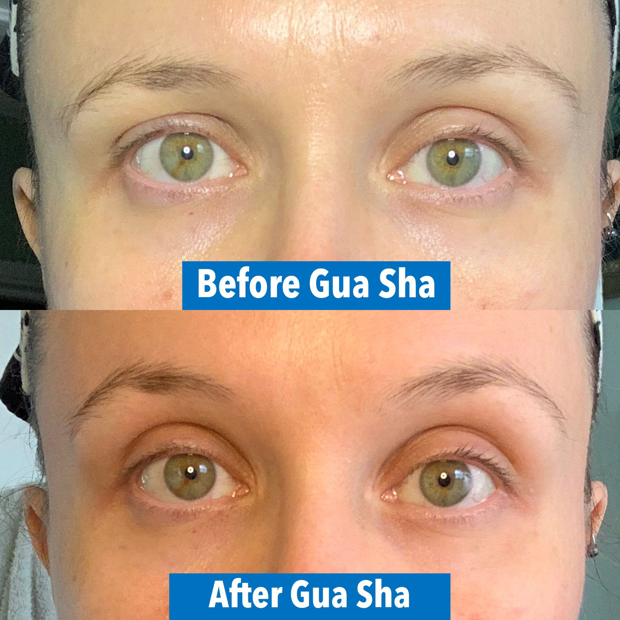 eyebrow and eyelid lift with gua sha