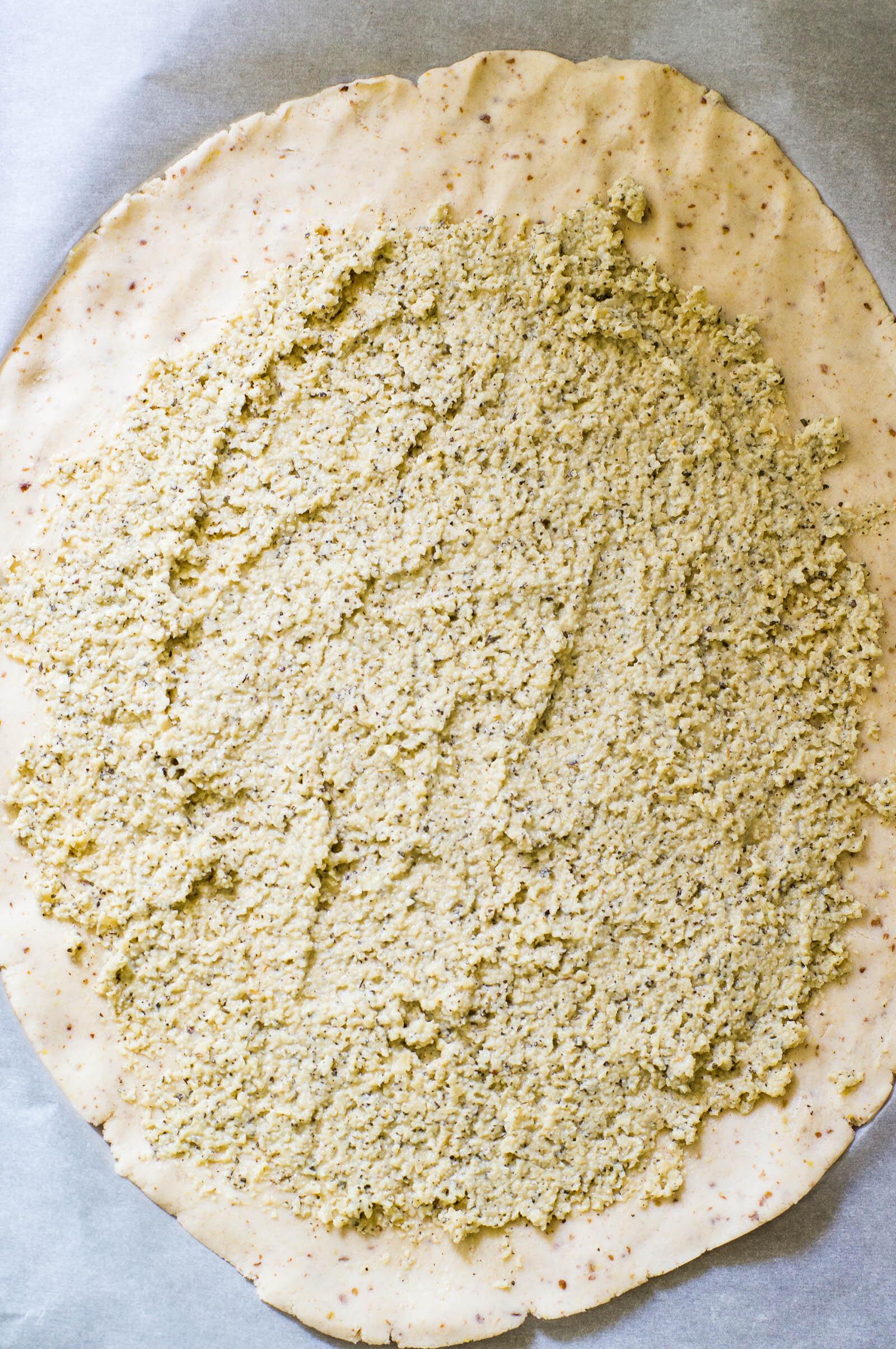 No-chill cassava flour galette crust with Paleo and vegan no-soak cashew ricotta