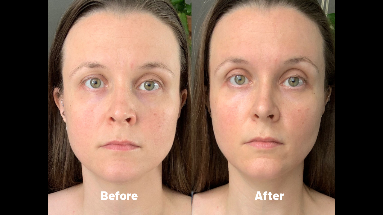 Before and after a 15 minute facial gua sha session using a ceramic soup spoon