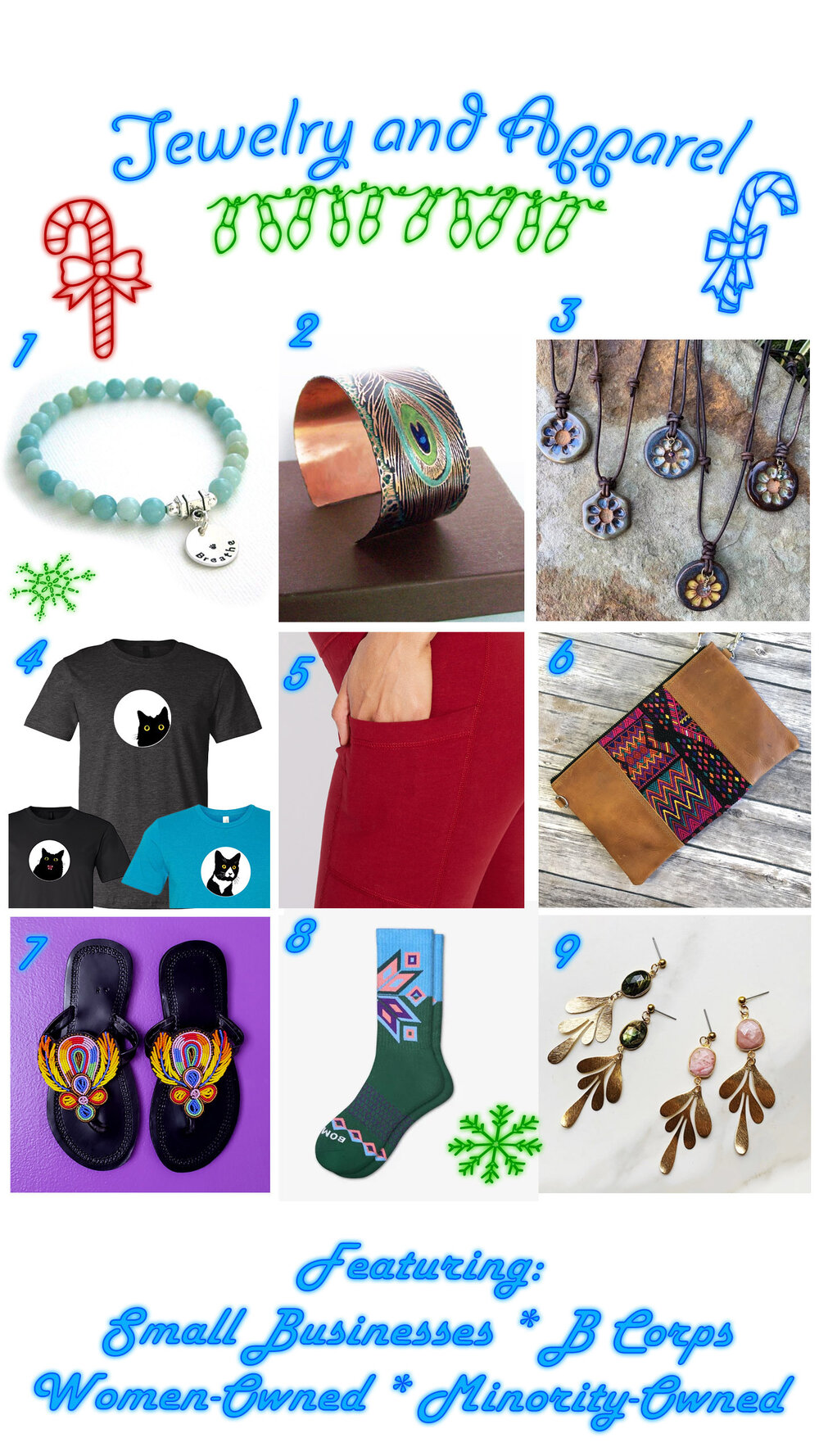 jewelry and apparel from small businesses,  women and minority owned, clean living gift guide