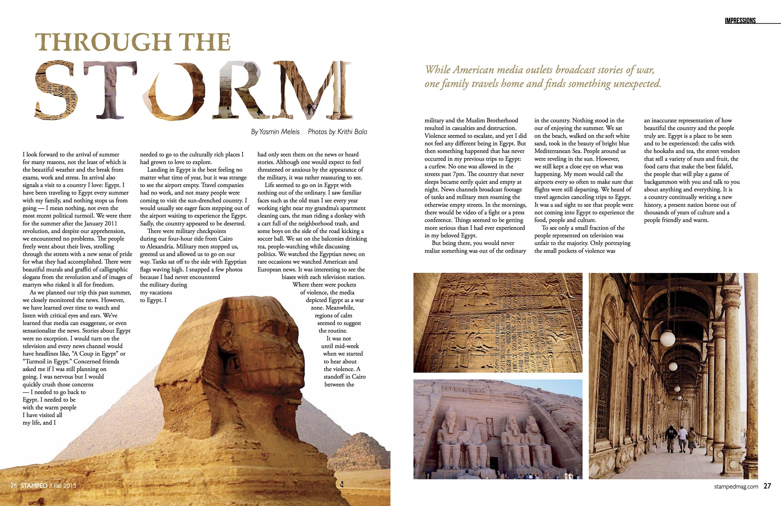 """- Magazine Spread """"Through the Storm""""Stamped Magazine, Fall 2013. Looking at this in 2019, I would change many things, but I still love how the title turned out."""