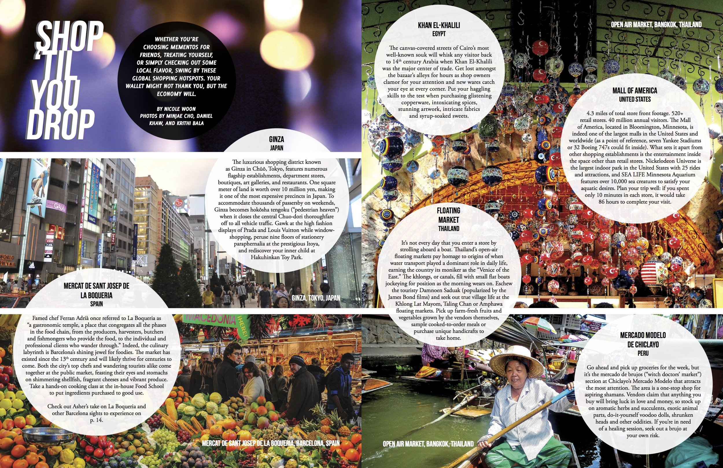 """- Magazine Spread """"Shop 'Til You Drop""""Stamped Magazine, Fall 2013. I tried to show the dynamism of these travel destinations and play on the title."""