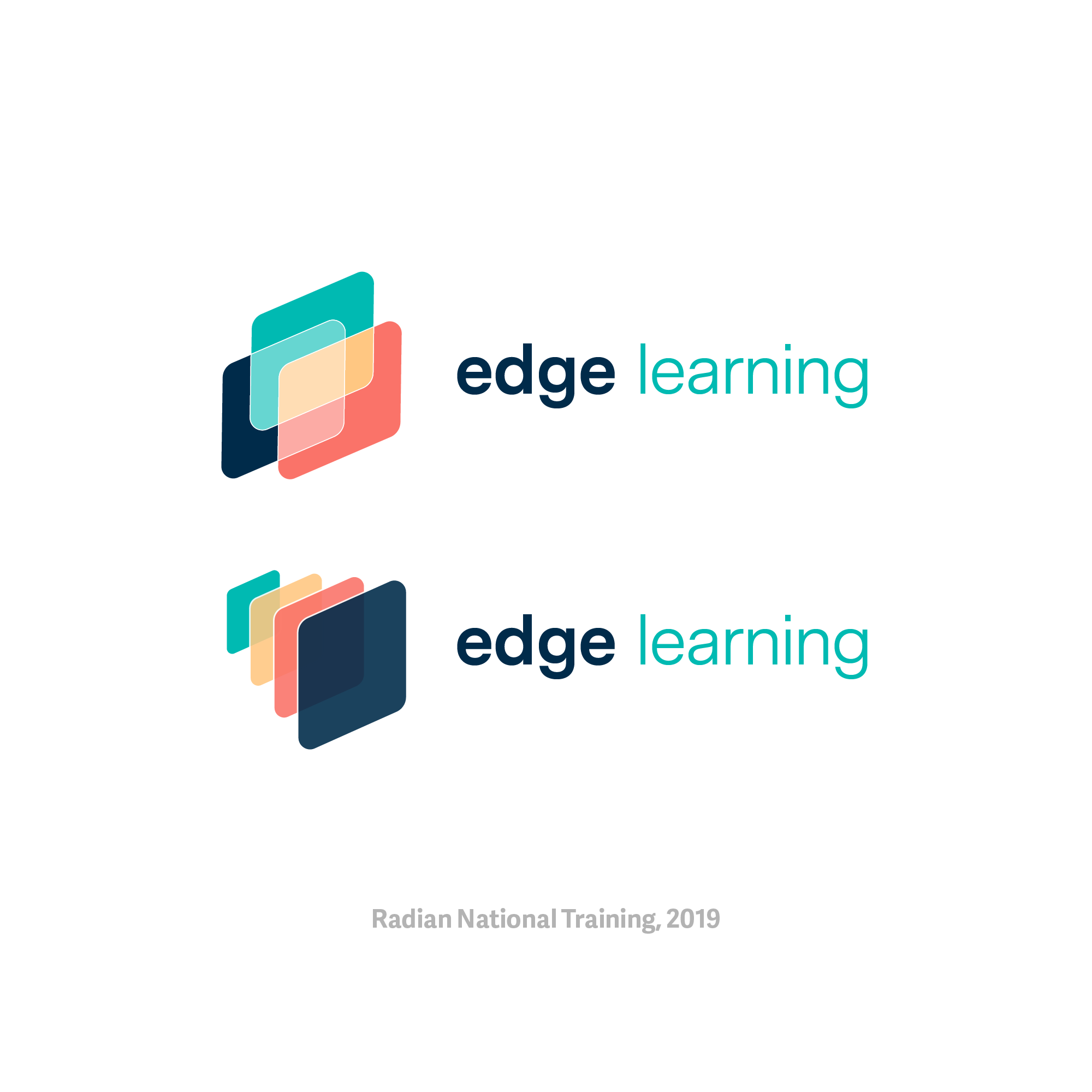 Concepts for edge learning, a new learning platform. The rhomboid is a Radian brand motif.