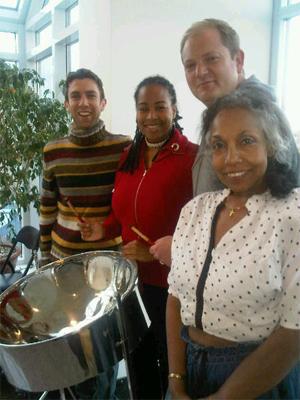 Suzette with Luan, Gary and Adam, celebrating