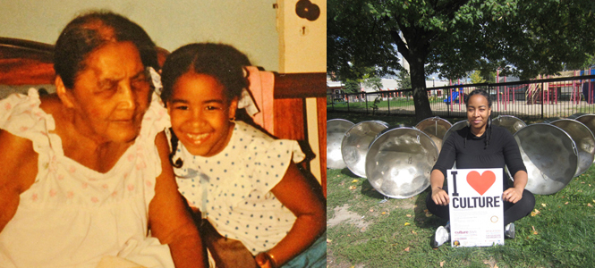"My grandmother Elouise ""Mammie Loy"" and myself at age 8.     Outside Sanderson Library , location of 2012 Culture Days workshop ""Steelpan With Suzette"""
