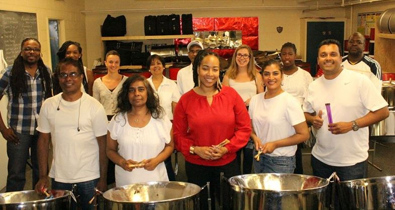 Students of the Introductory Adult Steelpan Spring Class