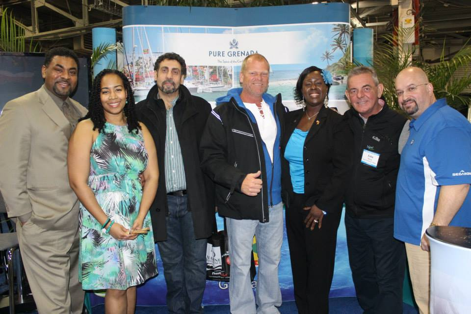 "VIP Night in the ""Eastern Caribbean Village"" for the Toronto International Boat Show. Community advocate Dewitt Lee, steelpannist Suzette Vidale, home improvement contractor & tv personality Mike Holmes & crew and the Consul General of Grenada, Mrs. C. J. Augustine-Kanu"
