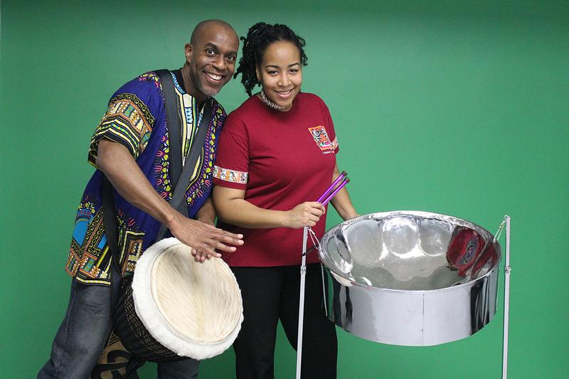 Djembe drummer Bentley Springer and steelpannist Suzette Vidale