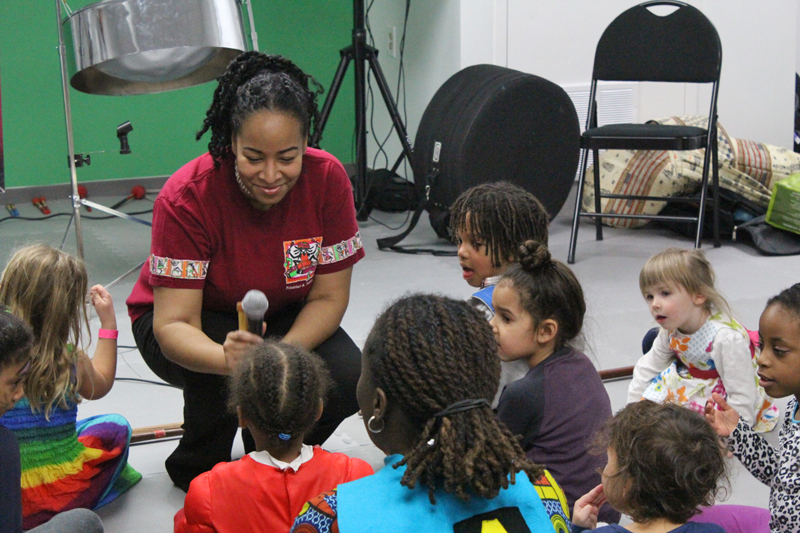 Interactive steelpan workshop with lots of questions by the kids!