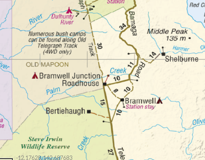 Westprint Cape York Map: Bramwell Junction and Bramwell Junction Road house.