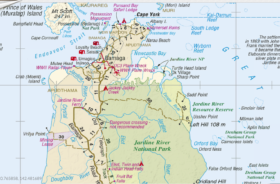 Westprint Cape York Map: Eliot and Fruit Bat Falls and accommodation