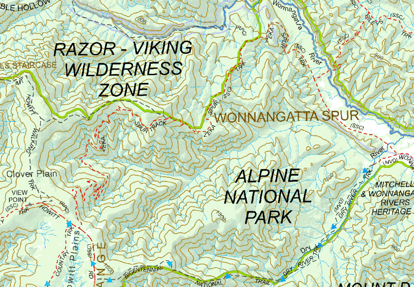 Map of Victorian High Country showing Zeka Spur available to view and purchase via Mud Map Store.