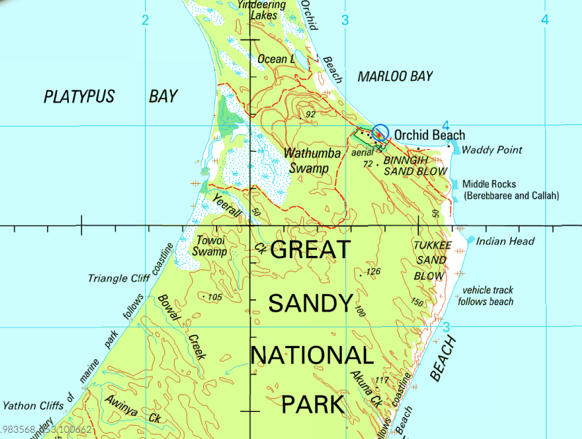 NATMAP Fraser Island Map. Showing Waddy point, Indian Head and Orchid Beach. Map available on Mud Map Android App and for purchase on Mud Map 2.