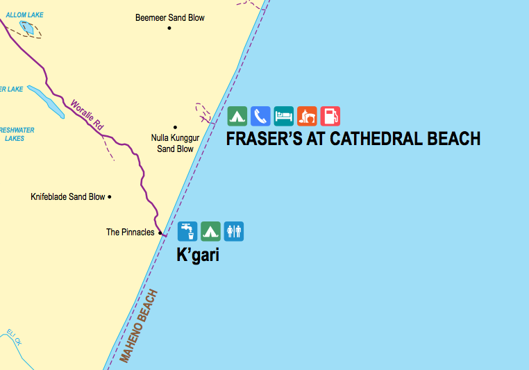 MUD MAP Fraser Island Map showing Fraser's at Cathedral Beach (map available on Mud Map 2 and Mud Map Android for offline GPS navigation).