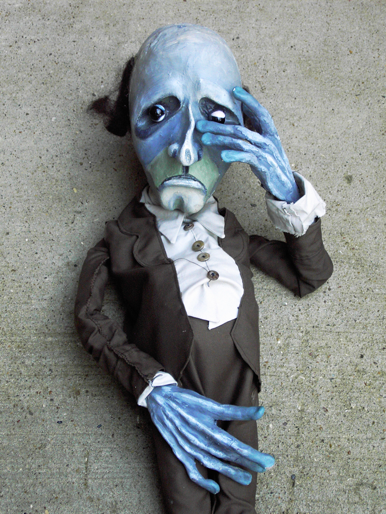 SID, Sculpted Puppet, Lead Character, DANSE MACABRE I, Bobbindoctrin Puppet Theatre, Houston, Texas