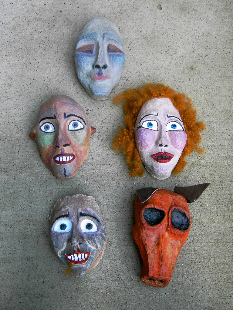 Set of masks, DANSE MACABRE I, Bobbindoctrin Puppet Theatre, Houston, Texas