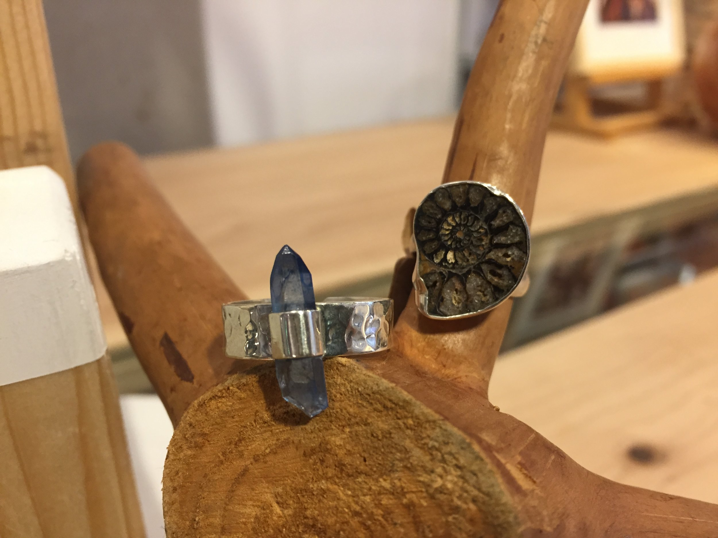 Blue Quarts & Timbered Silver  / Amonite silver ring