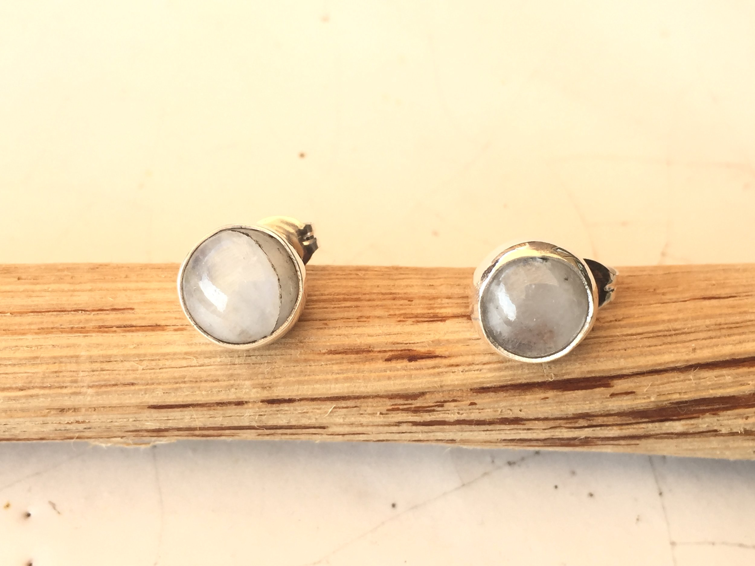 Moon Stone & Silver Earrings