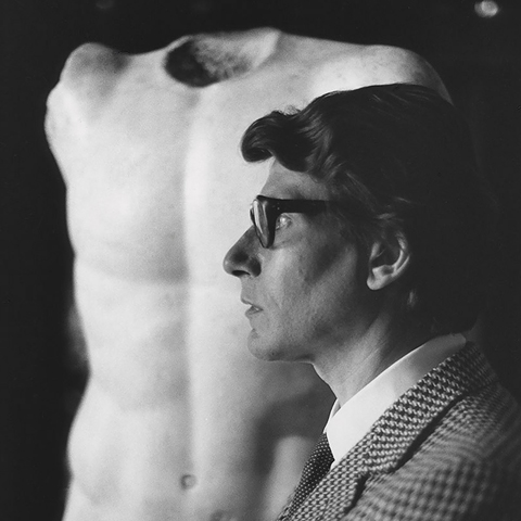 Yves Saint Laurent, 1983. Gelatin silver print with hand applied text.