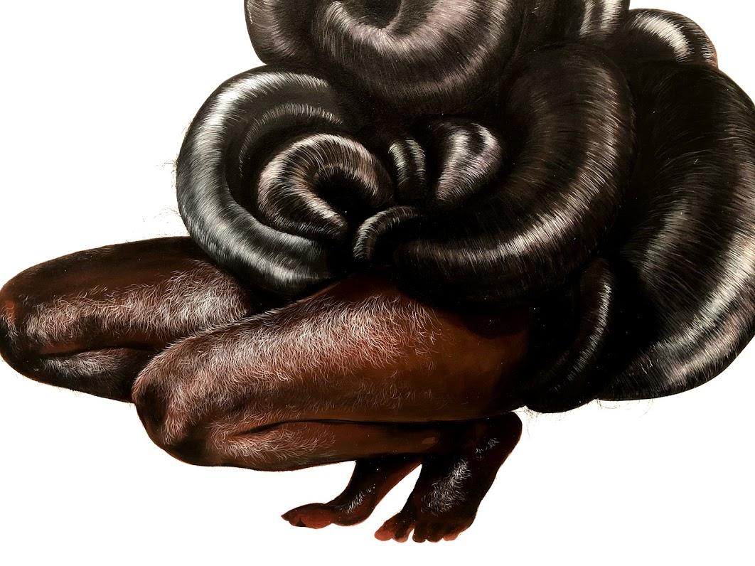 Firelei Báez Legs and hair of mythical creature kneeling.jpg