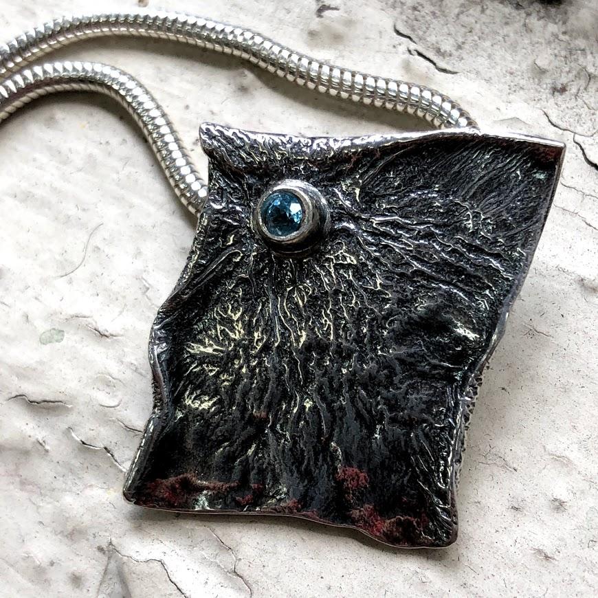 candace stern - silver pendant with tube set semi-precious stone