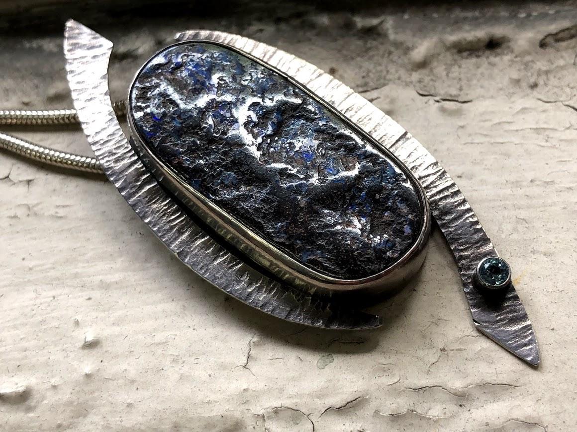 Candace Stern - Boulder opal pendant with tube set semi-precious stone