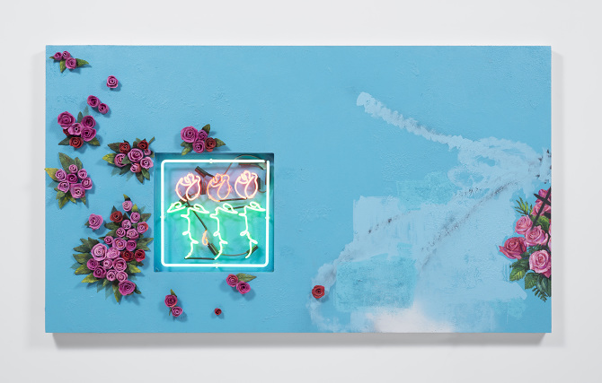 """""""los angeles flower still life""""  ceramic, neon and mixed media on panel with wall stucco, 2016"""