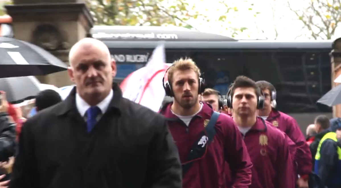 England, led by Chris Robshaw, arrive at Twickenham for the game against South Africa, which they lost 16-15