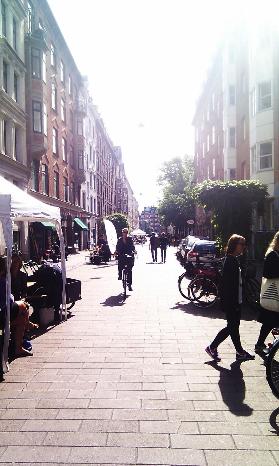 Copenhagen cycle chic outside Cafe N on Blågårdsgade