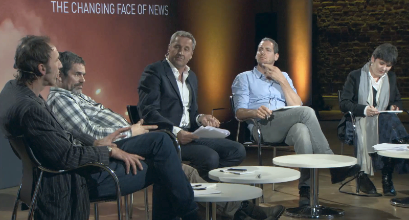 From left to right: Will Self, Paul Conroy, Mark Austin, Oren Yakobovich and Claire Fox
