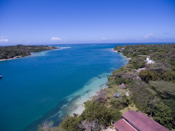 View of Kilifi Creek from above the roof of Creek View House