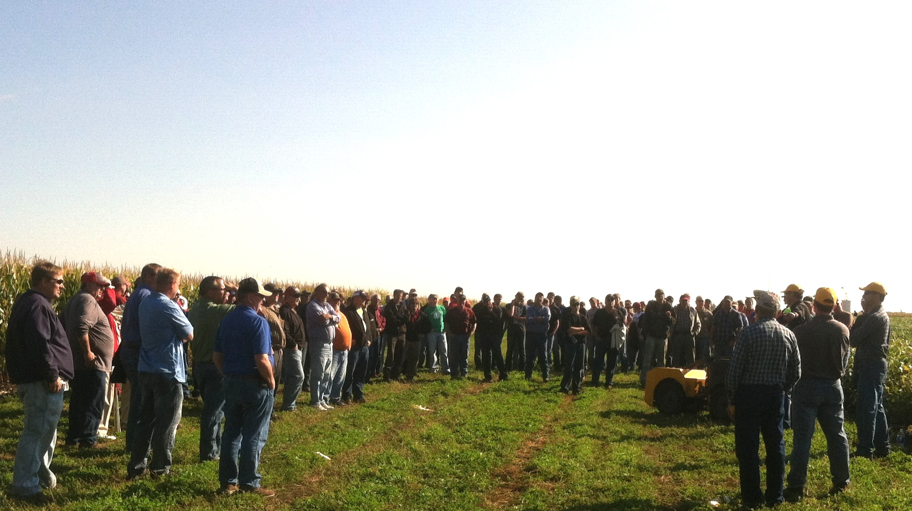 Growers get first look at the Rowbot prototype on a field it had side-dressed earlier in the season (Photo: Randy Michelson, CPS MN-SD)