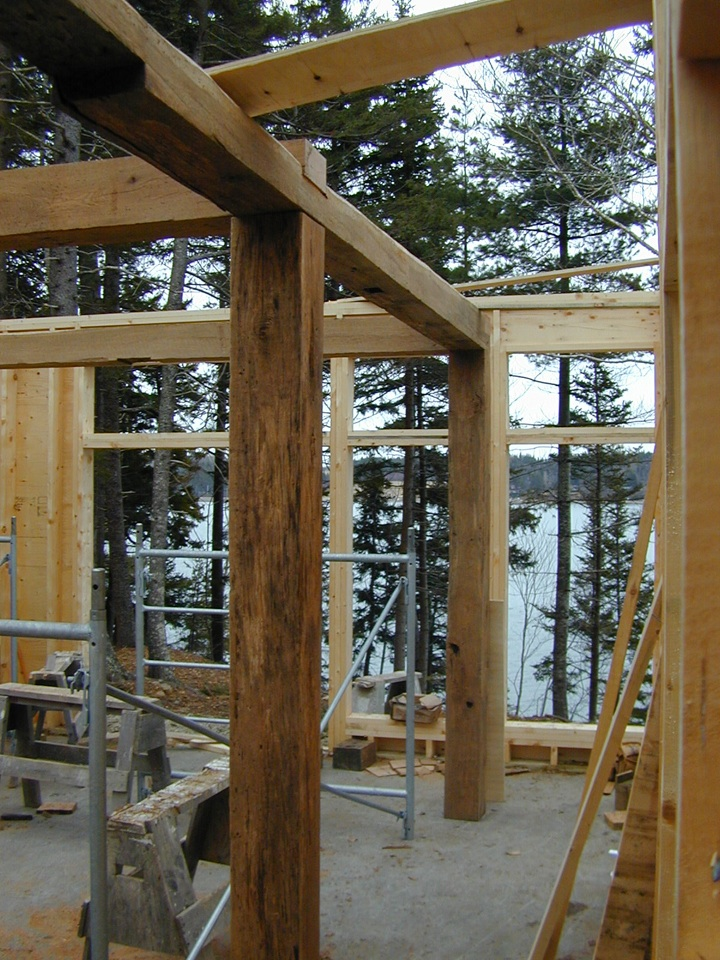 The salvaged timber frame in place