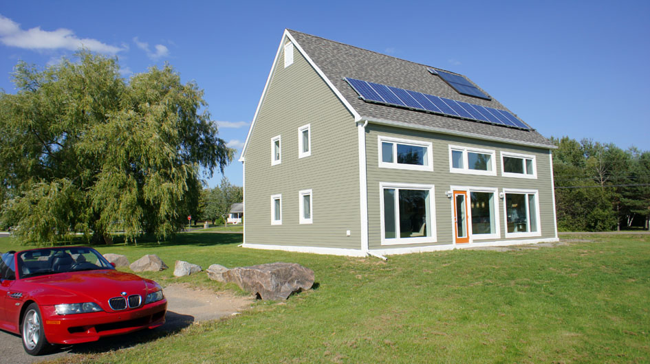 The south elevation, The roof pitch and angle were designed for optimal solar collection