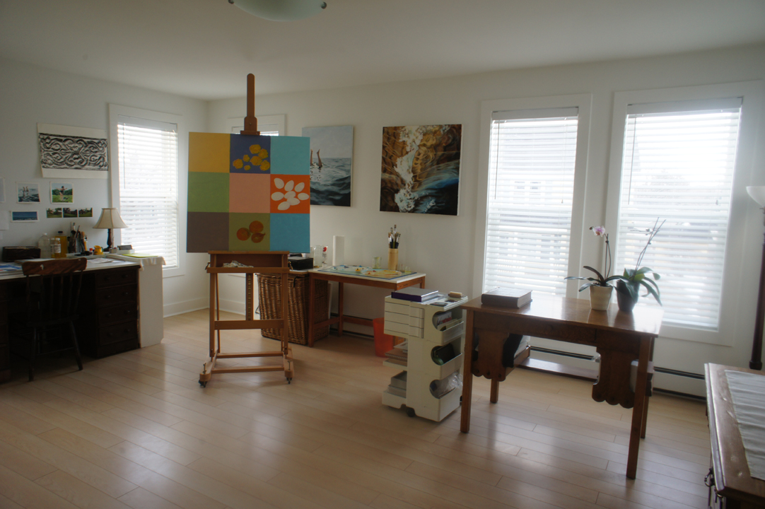 The spacious studio has lots of light from three directions and room for two creative minds.