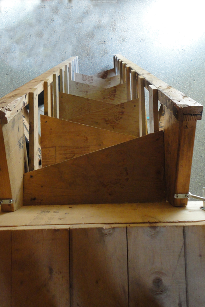 The loft stair is made from construction scraps and unused trusses.
