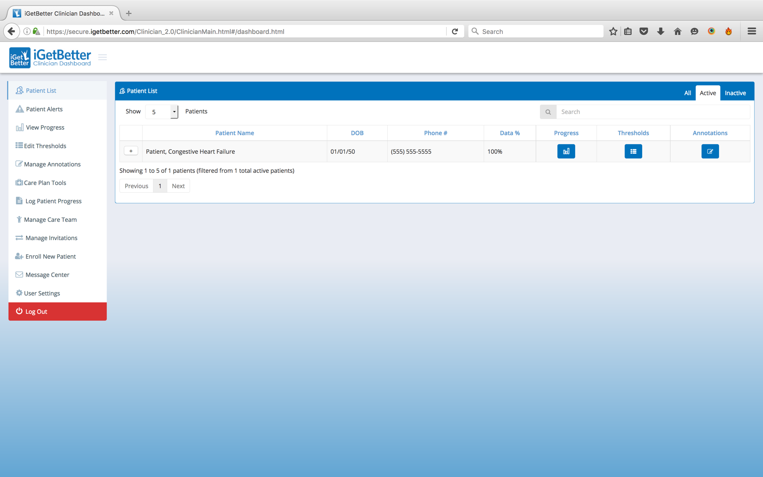 """6. View patient details (including compliance rating) and select """"progress"""""""