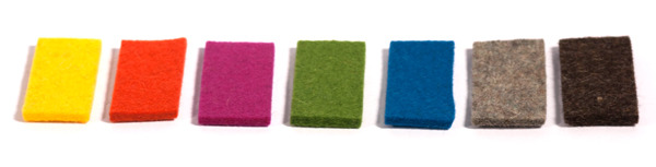 Available colors of quality wool felt.