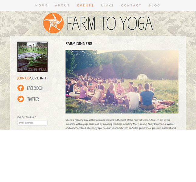 Farm to Yoga website