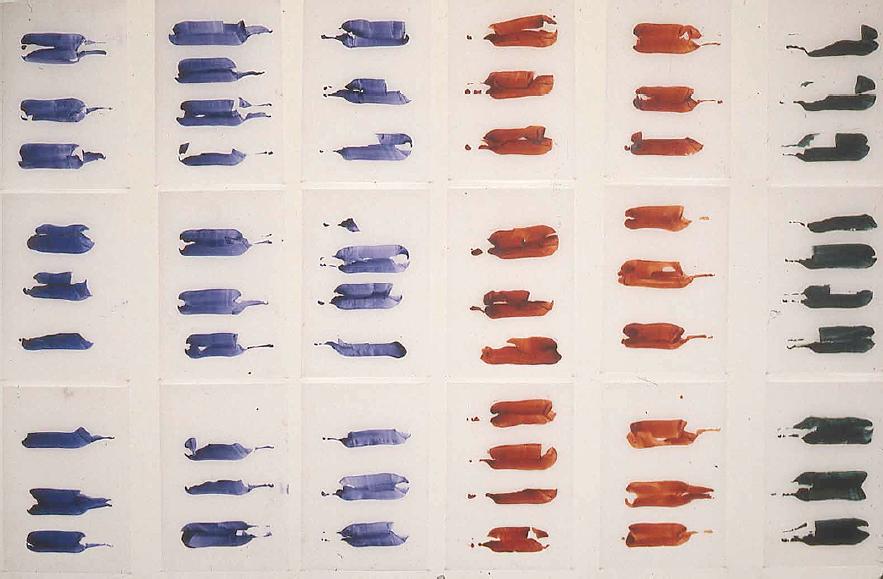 "Artist: Michelle Charles Title: 51 Bottles (Detail) Scale each work 20"" x 30"" Medium: Oil on Wax Paper Date: 1997 www.MichelleCharlesArt.com"