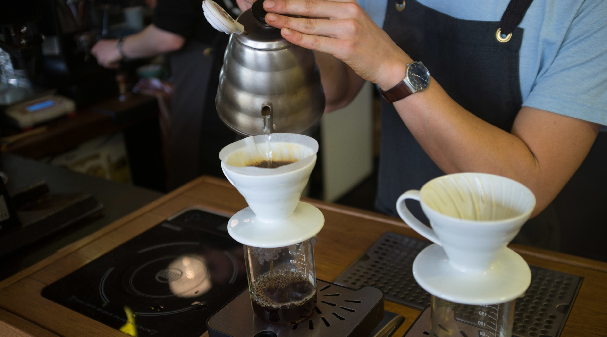 Tak brewing up a V60 of the Las Minas at WOR HQ