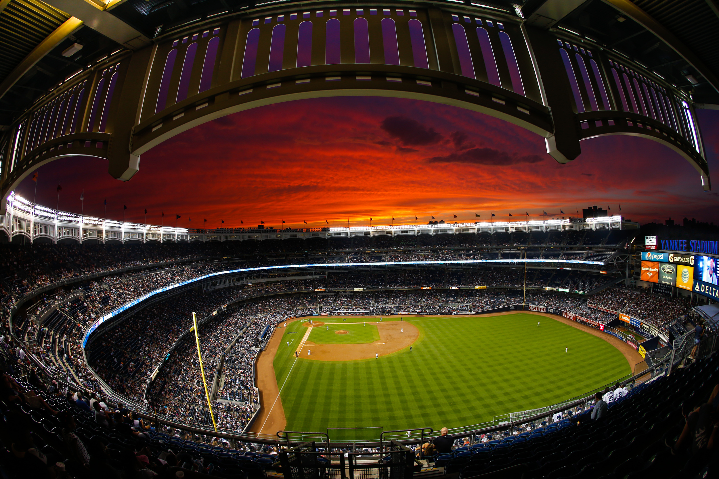 The view from the upper deck in right field of Yankee Stadium.