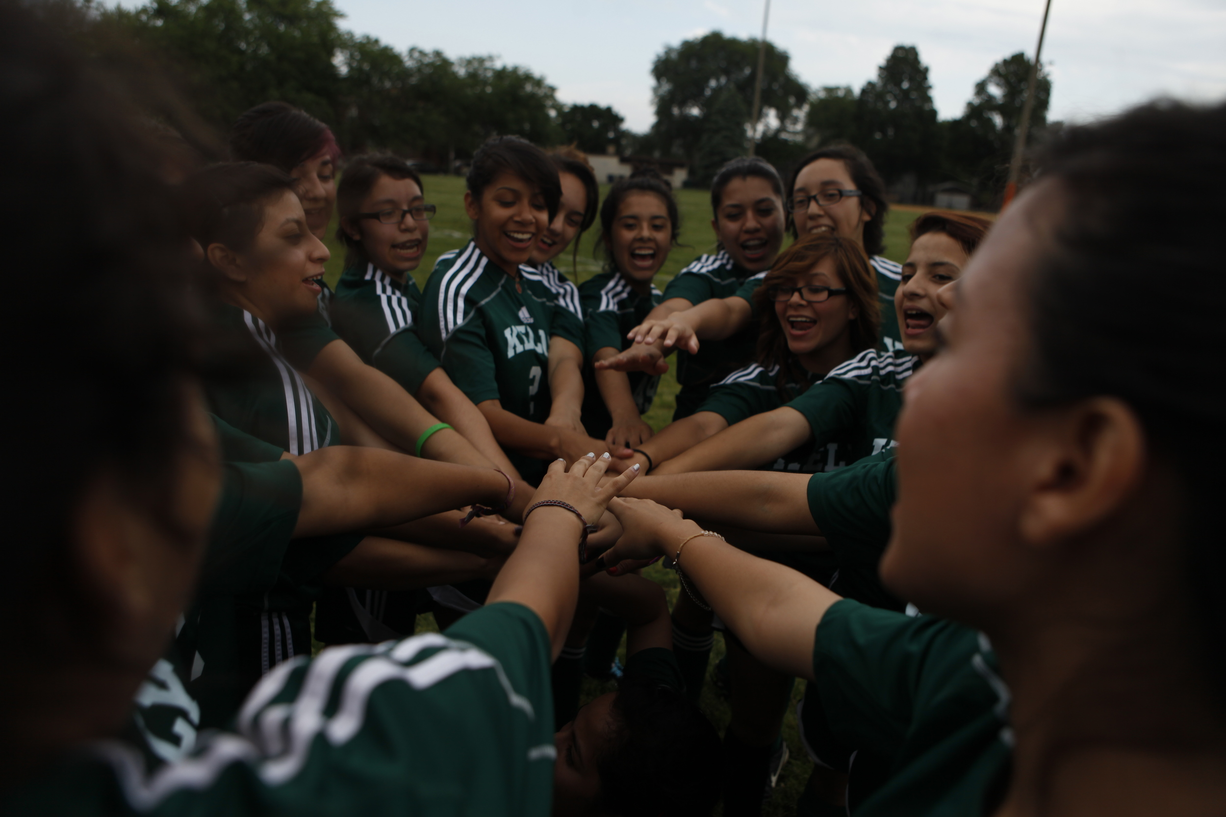 The Kelly High School girls varsity soccer team gathered before practice across from the Chicago school on Tuesday, June 11, 2013.