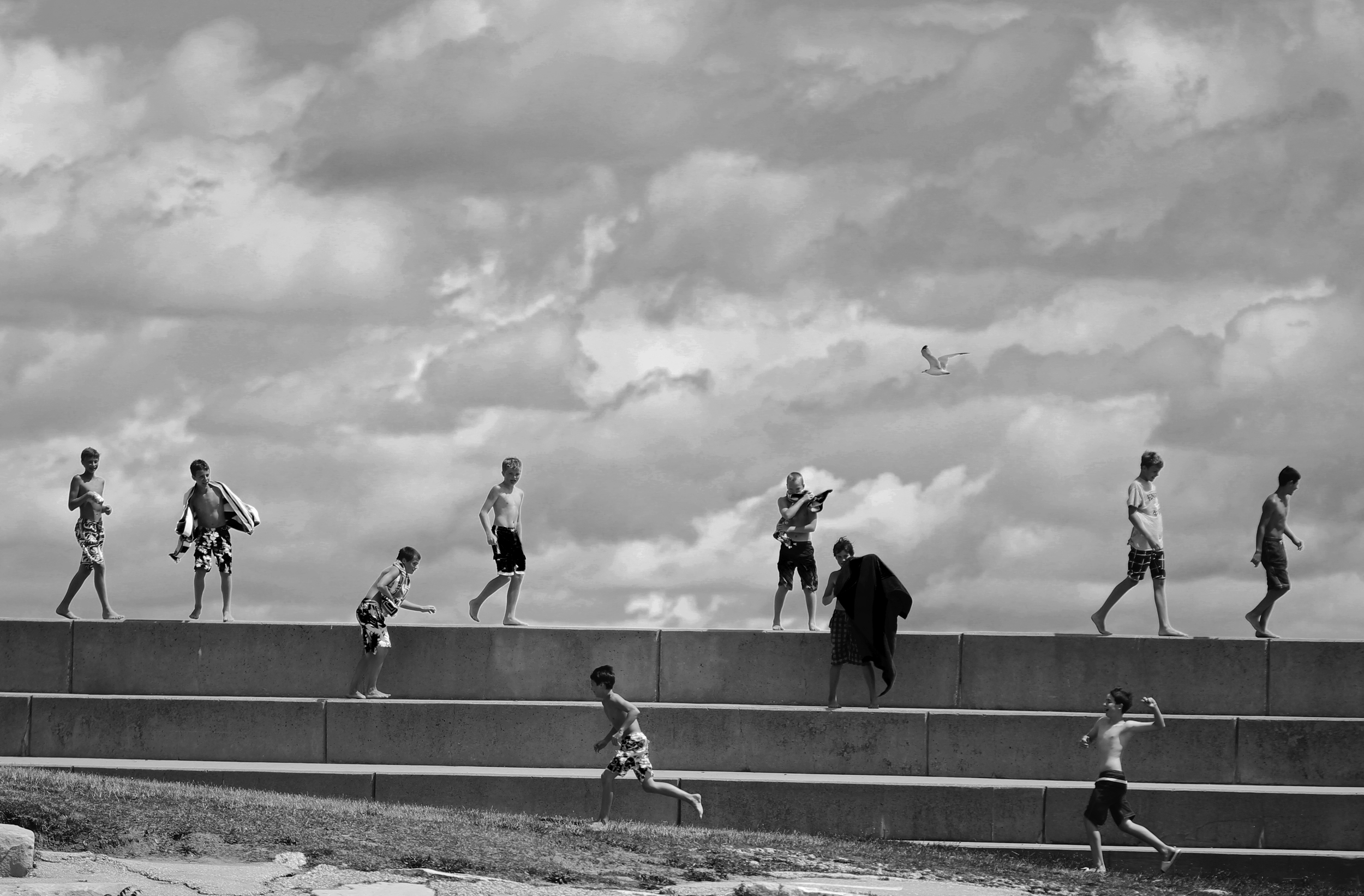 Children play at 12th St. Beach in Chicago on August 13, 2013 after high levels of e. coli and rip tides forced people out of the water.